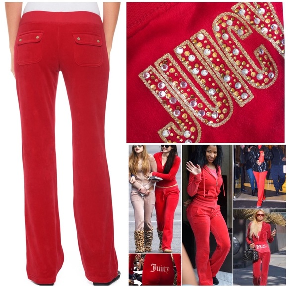 6dbf9fc71278 Juicy Couture Red Velour Track Pants